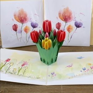 NWT Pop Up Laser cut Greeting Card keepsake tulip